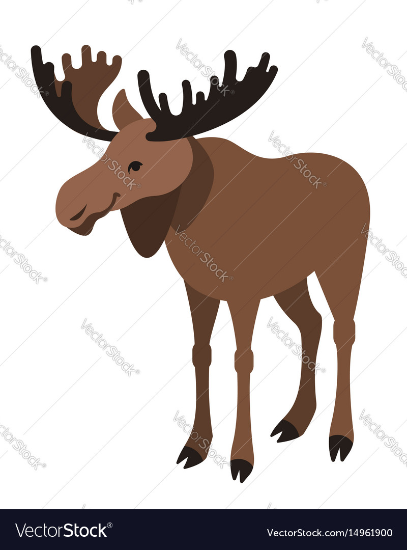 Cute smiling horned elk cartoon