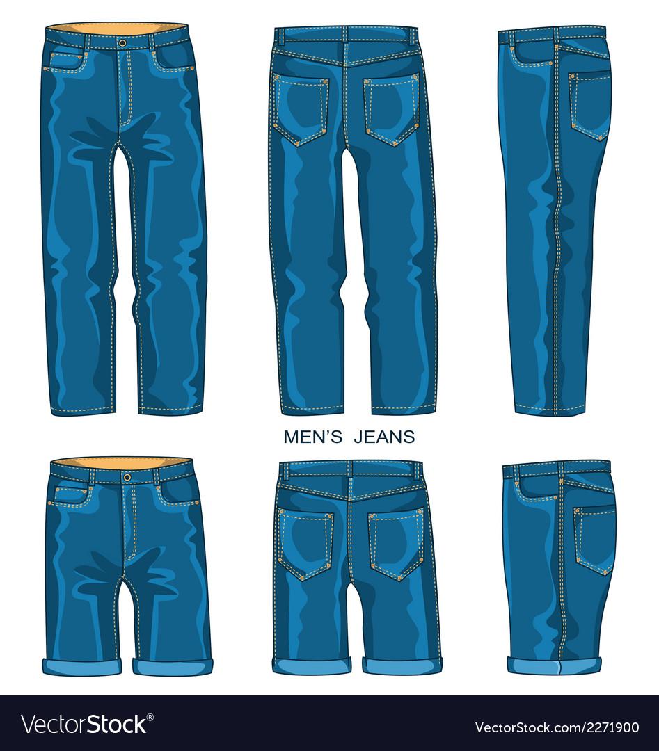 Man Jeans Pants And Shorts Royalty Free Vector Image