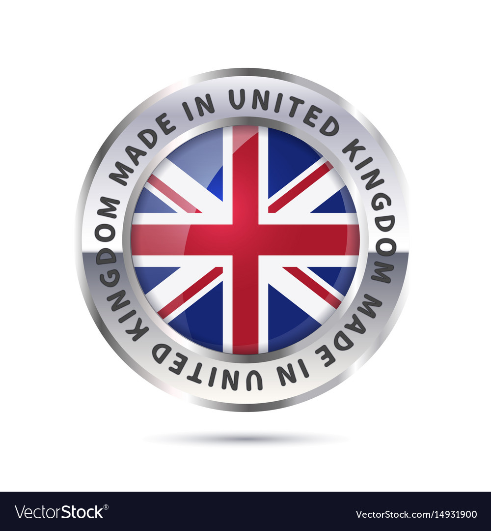 Metal badge icon made in united kingdom with flag