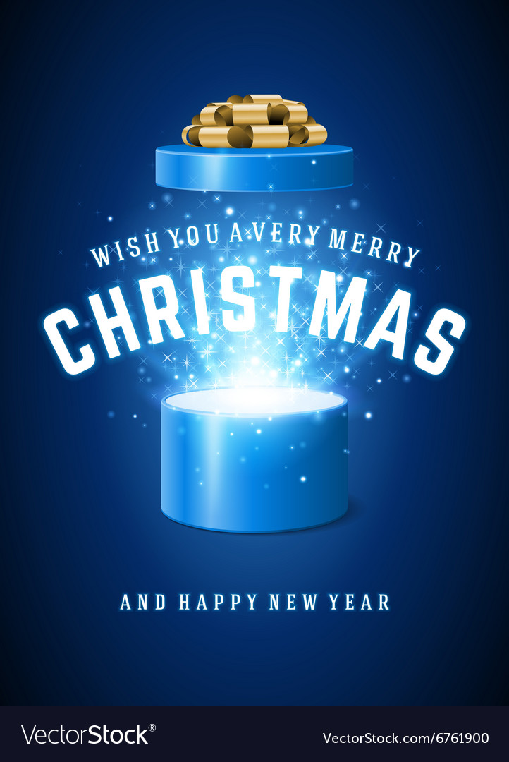 Open Gift Box Magic Light fireworks and Christmas vector image