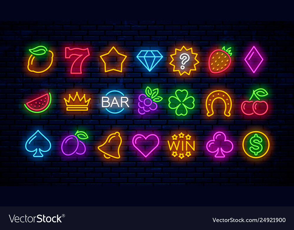 Set neon gaming icons for casinos