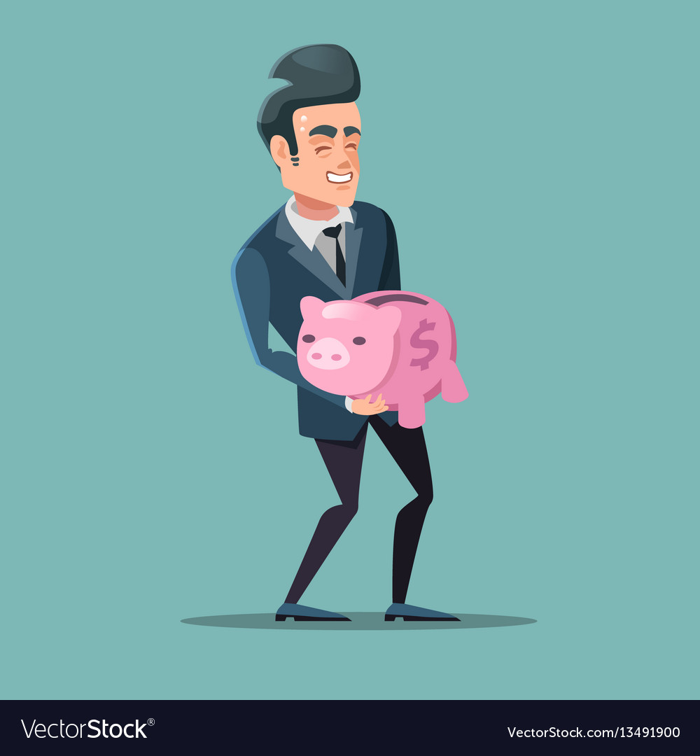 Successful businessman with pink piggy bank
