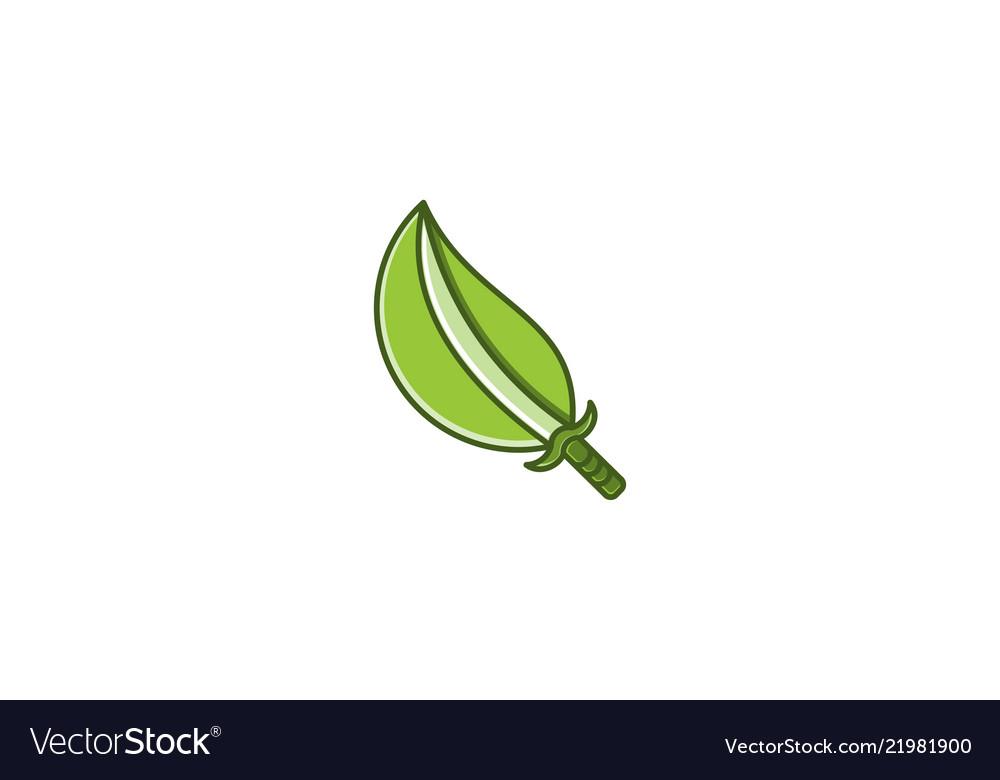 Sword and leaf logo designs inspiration