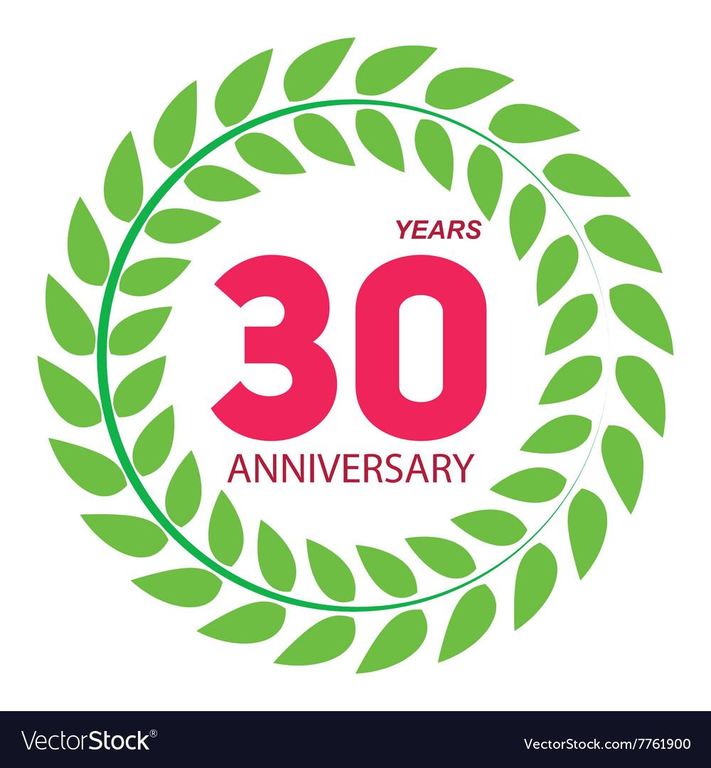 Template Logo 30 Anniversary in Laurel Wreath vector image