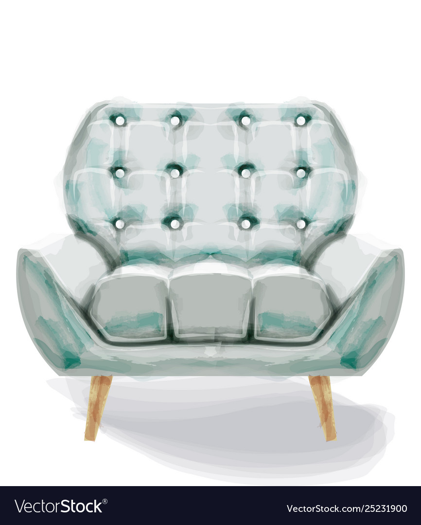 Vintage retro armchair watercolor modern