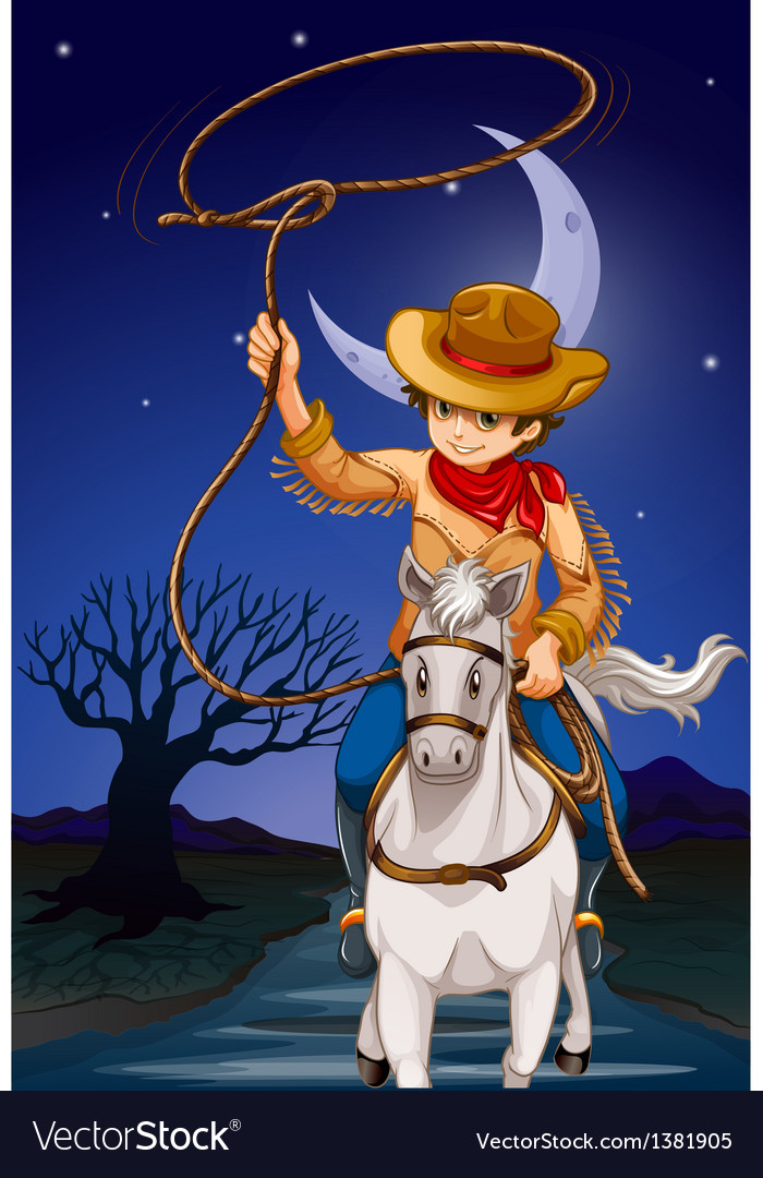 A cowboy holding a rope while riding a horse