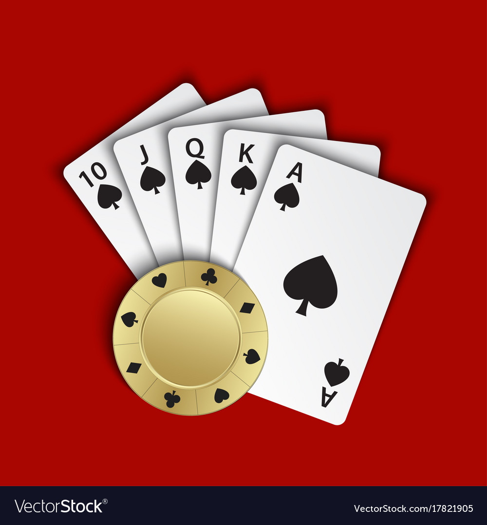 A royal flush of spades with gold poker chip on