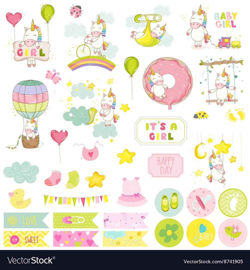 Baby Girl Unicorn Scrapbook Set Baby Tags