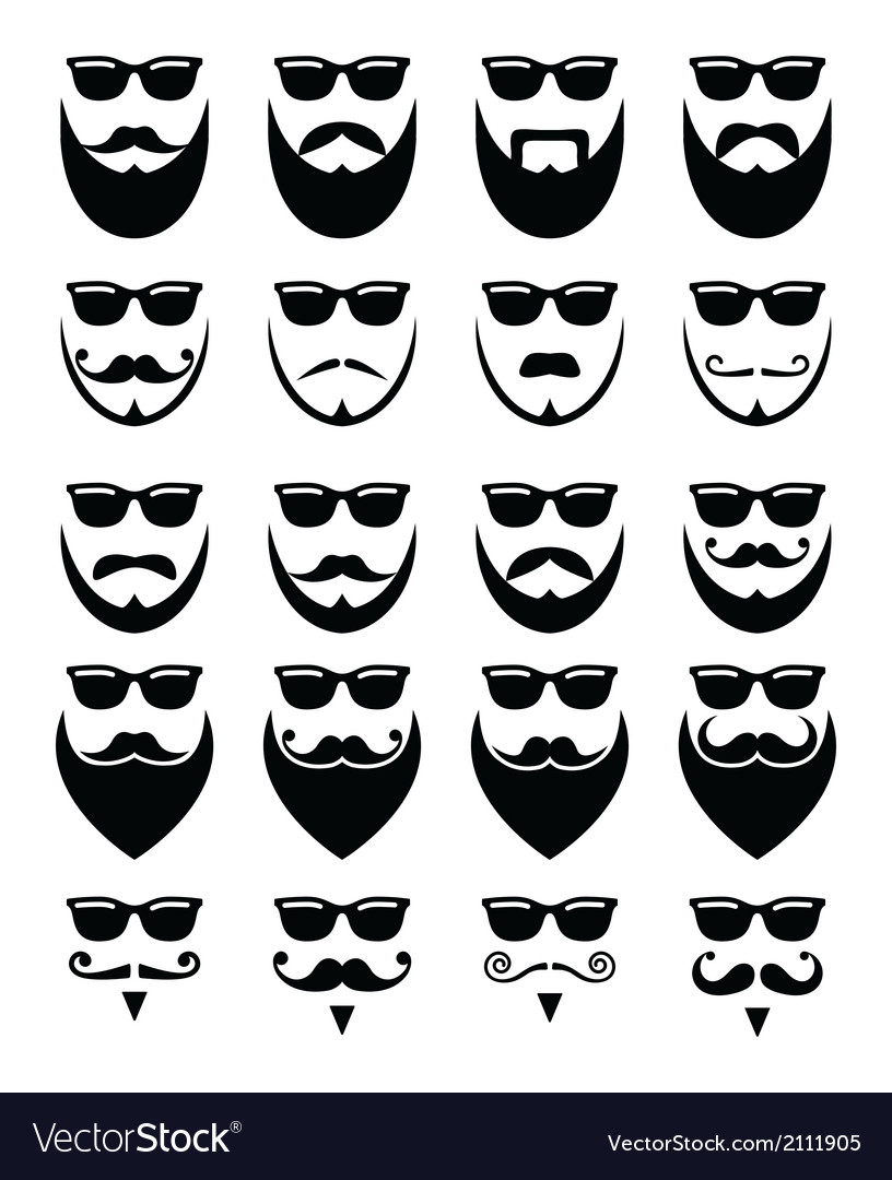 Beard and sunglasses hipster icons set