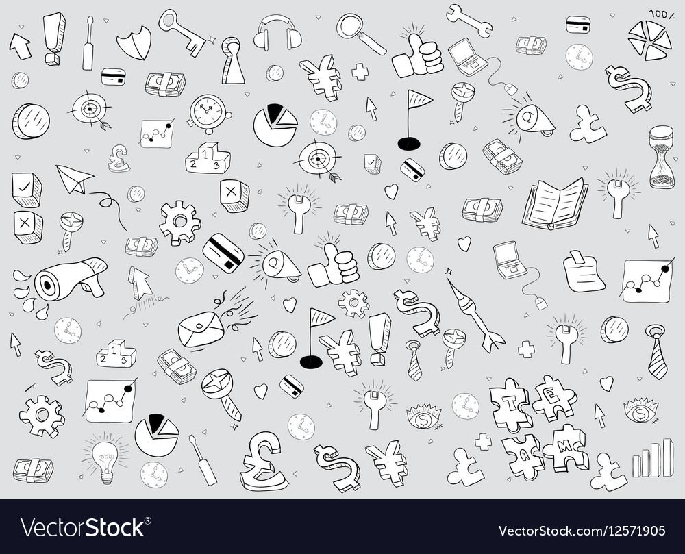 Business doodles objects background drawing vector image