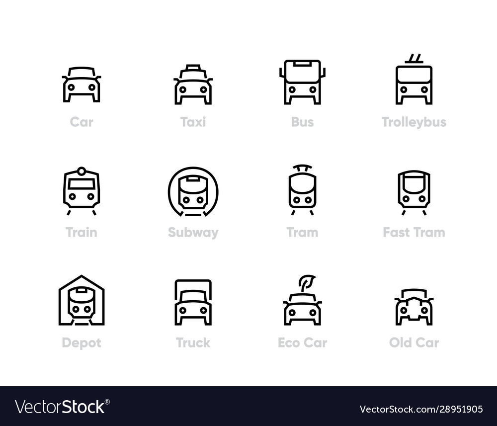City transport line icons car bus