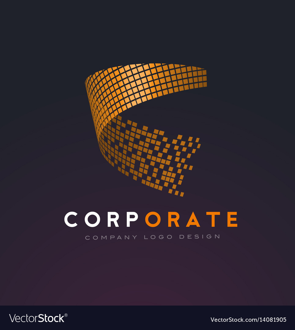 Corporate abstract logo with gold shattered
