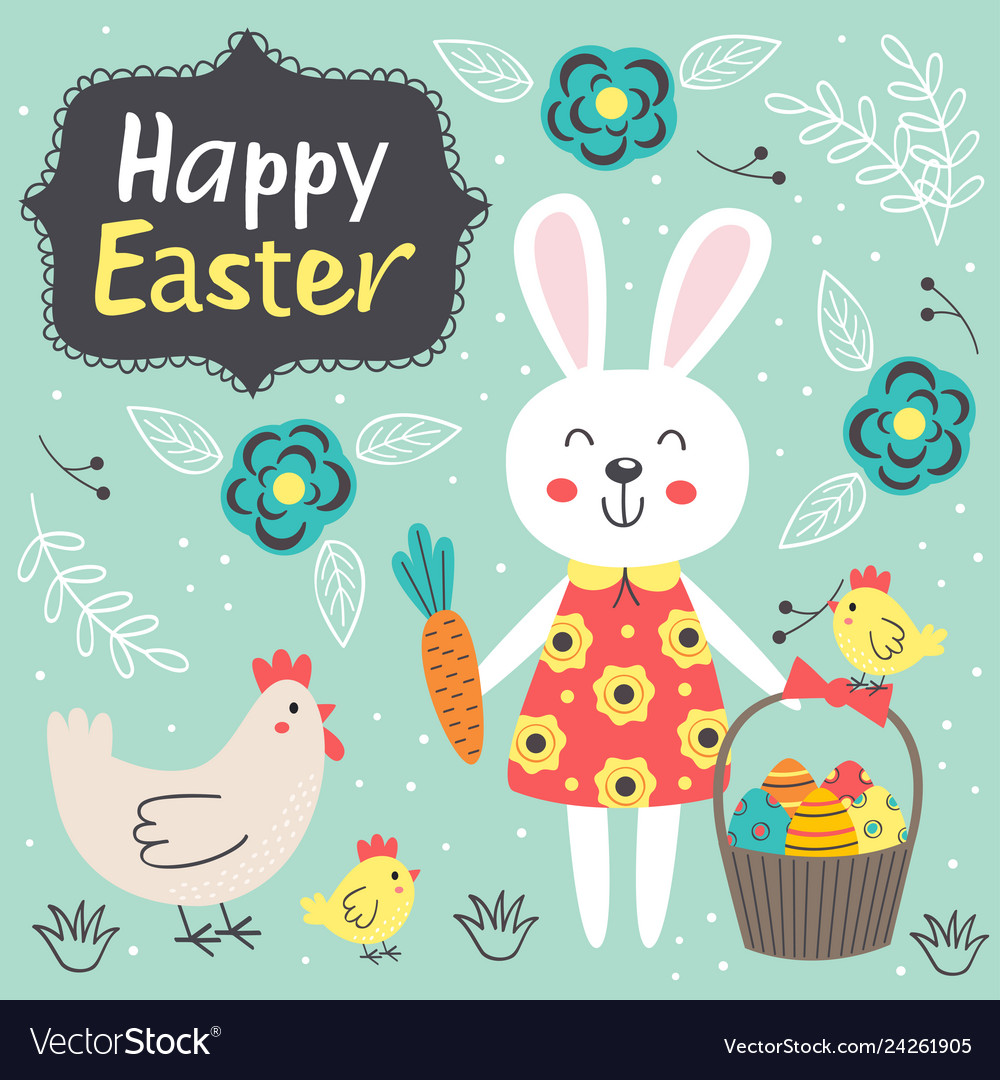 Easter card with cute rabbit and chicken
