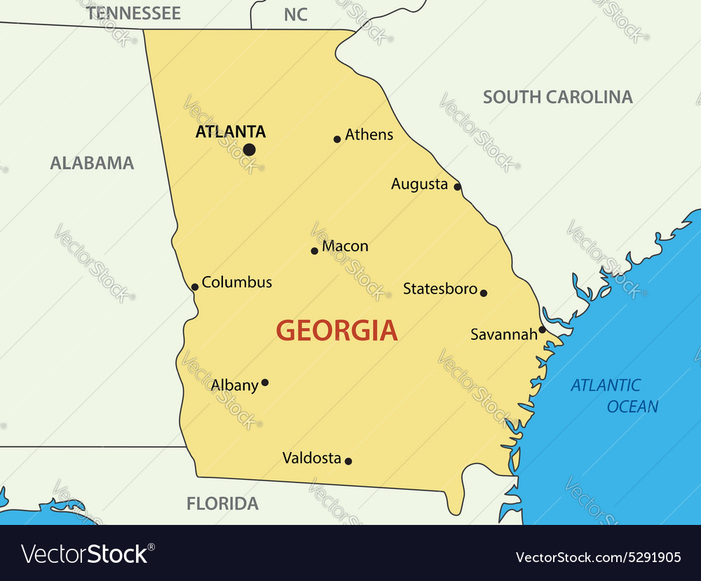 Georgia - US state - map Royalty Free Vector Image