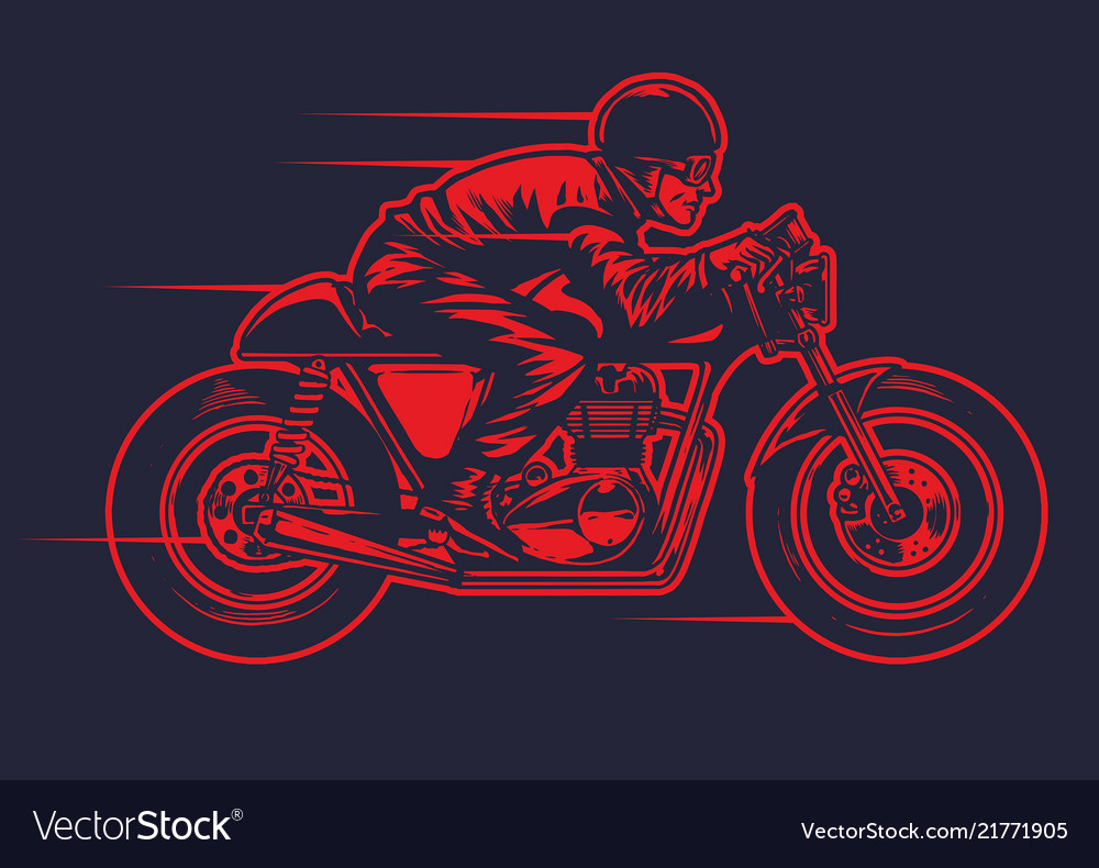 Hand drawing man riding old cafe racer