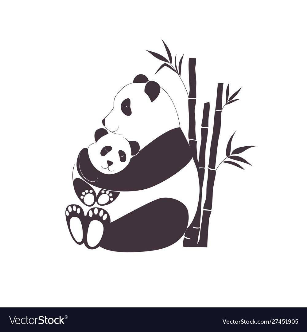 Panda mother hugging bapanda love between mom