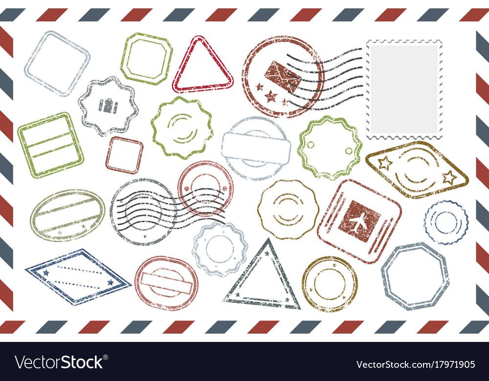 Postal stamps set on envelope
