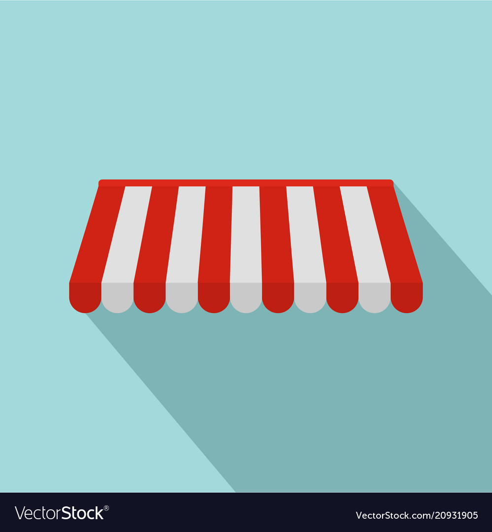 Red white outdoor street tent icon flat style