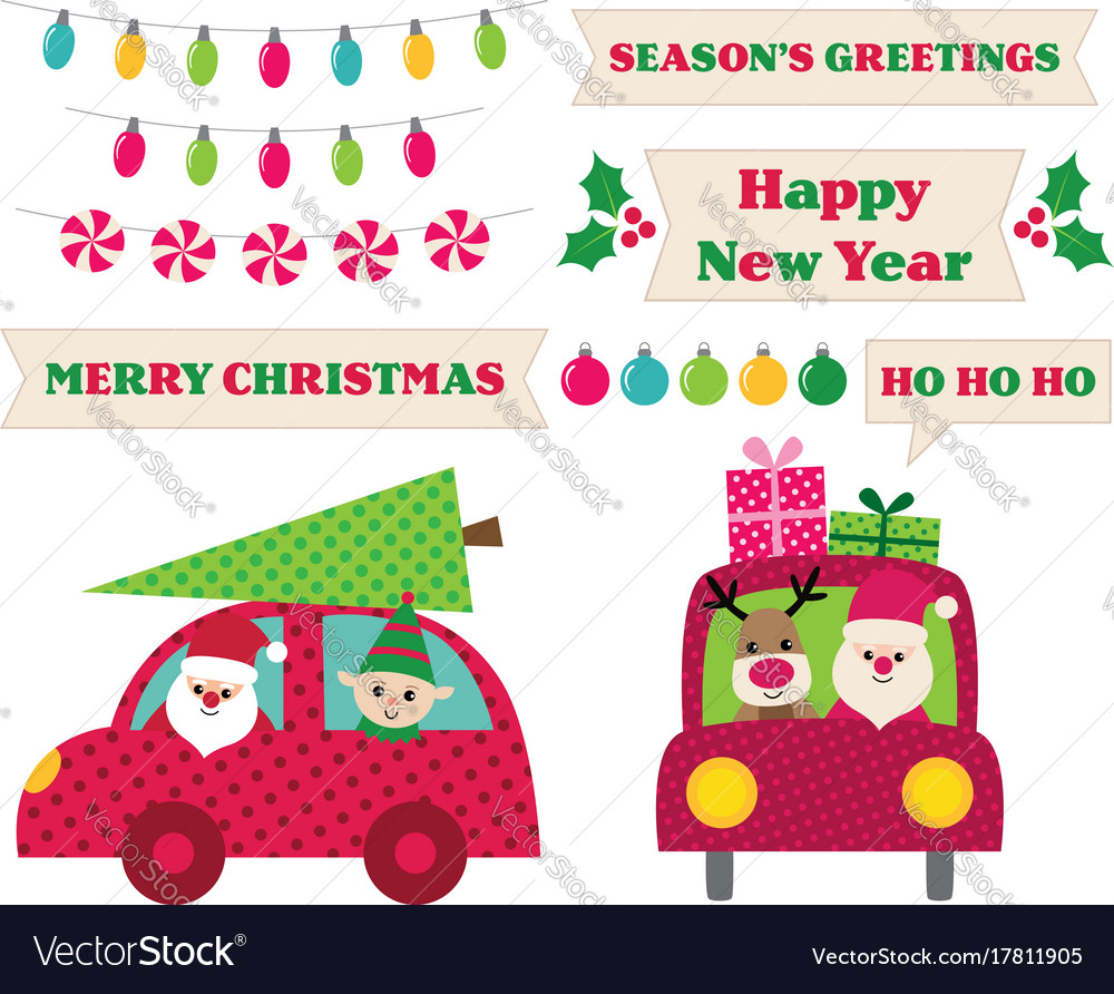 Santa claus in a car christmas design elements vector image