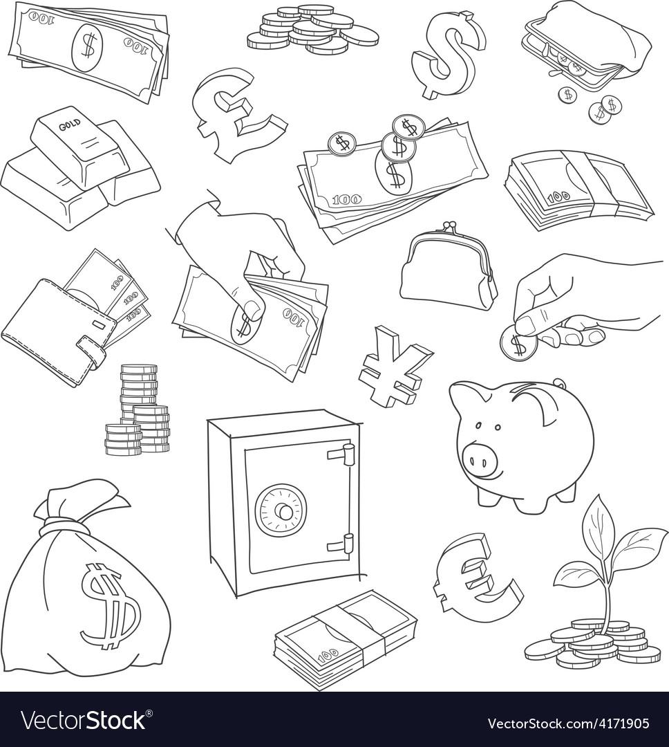 Set of doodle money symbol