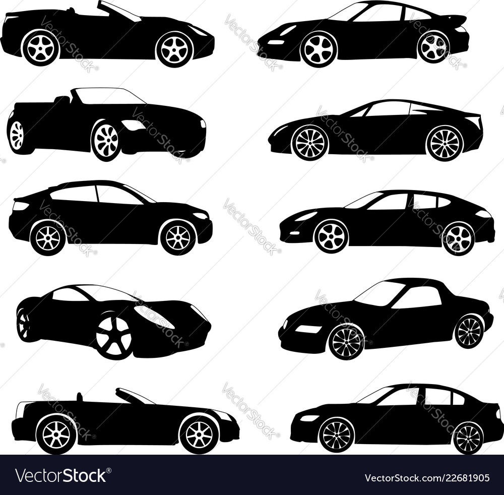 Sport Cars Silhouettes Collection Royalty Free Vector Image