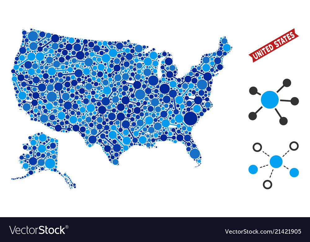 Usa With Alaska Map Connections Composition Vector Image