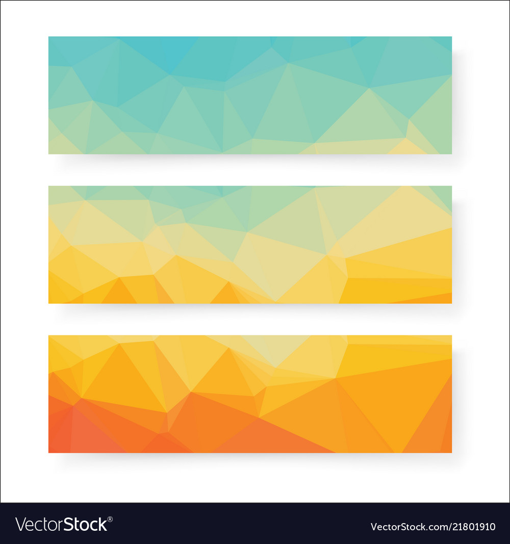 Abstract geometric polygonal banners