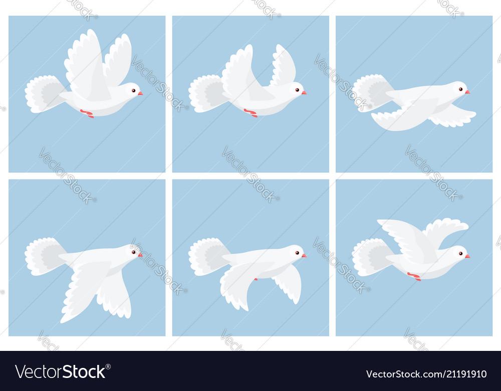 Cartoon flying dove animation sprite