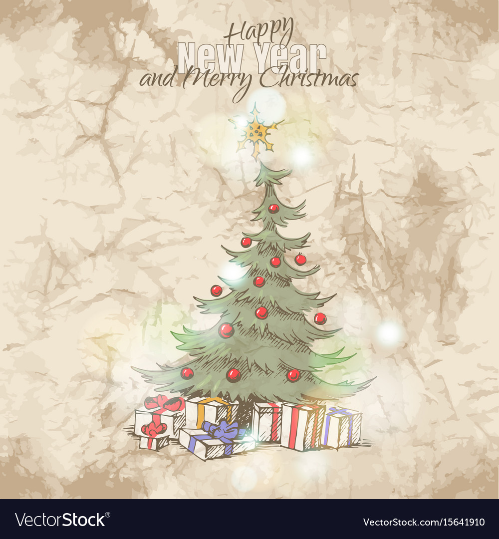 Christmas card with magic christmas tree Vector Image