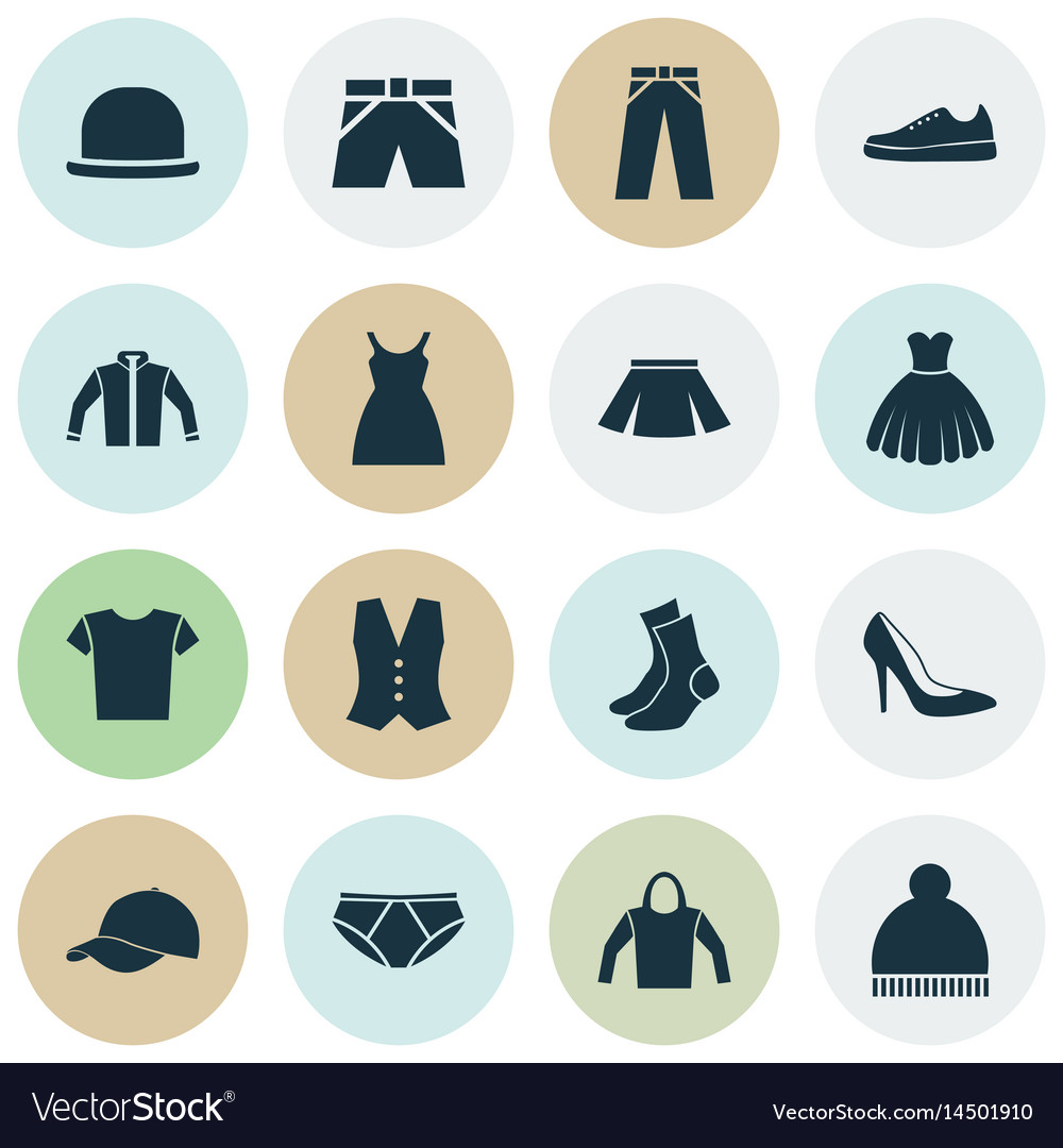 c42aa922 Clothes icons set collection of trilby sarafan Vector Image