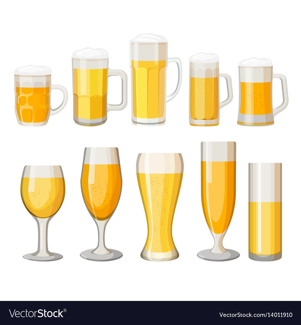 Collection of beer mugs with light alcohol