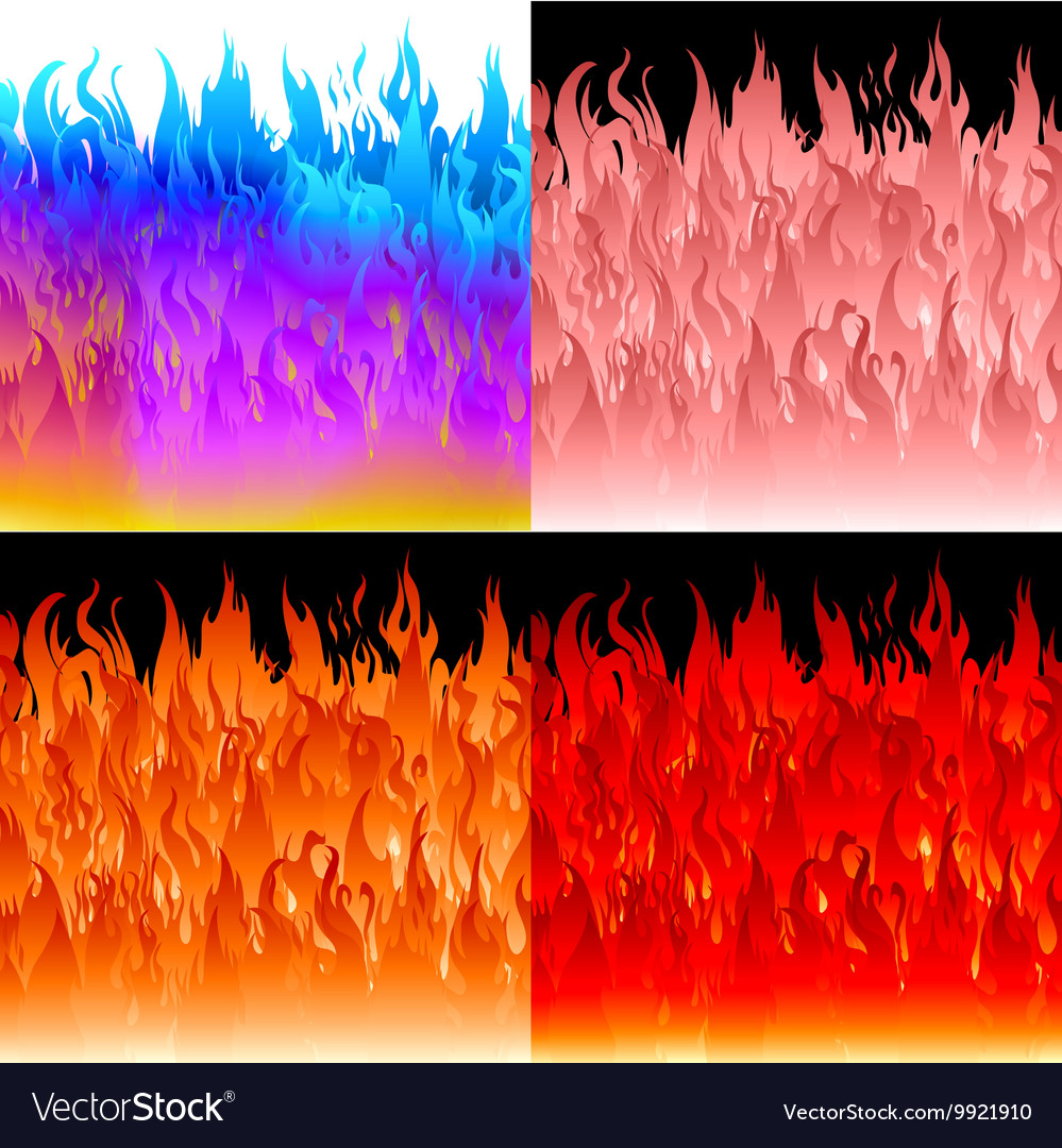 Fire flames background set