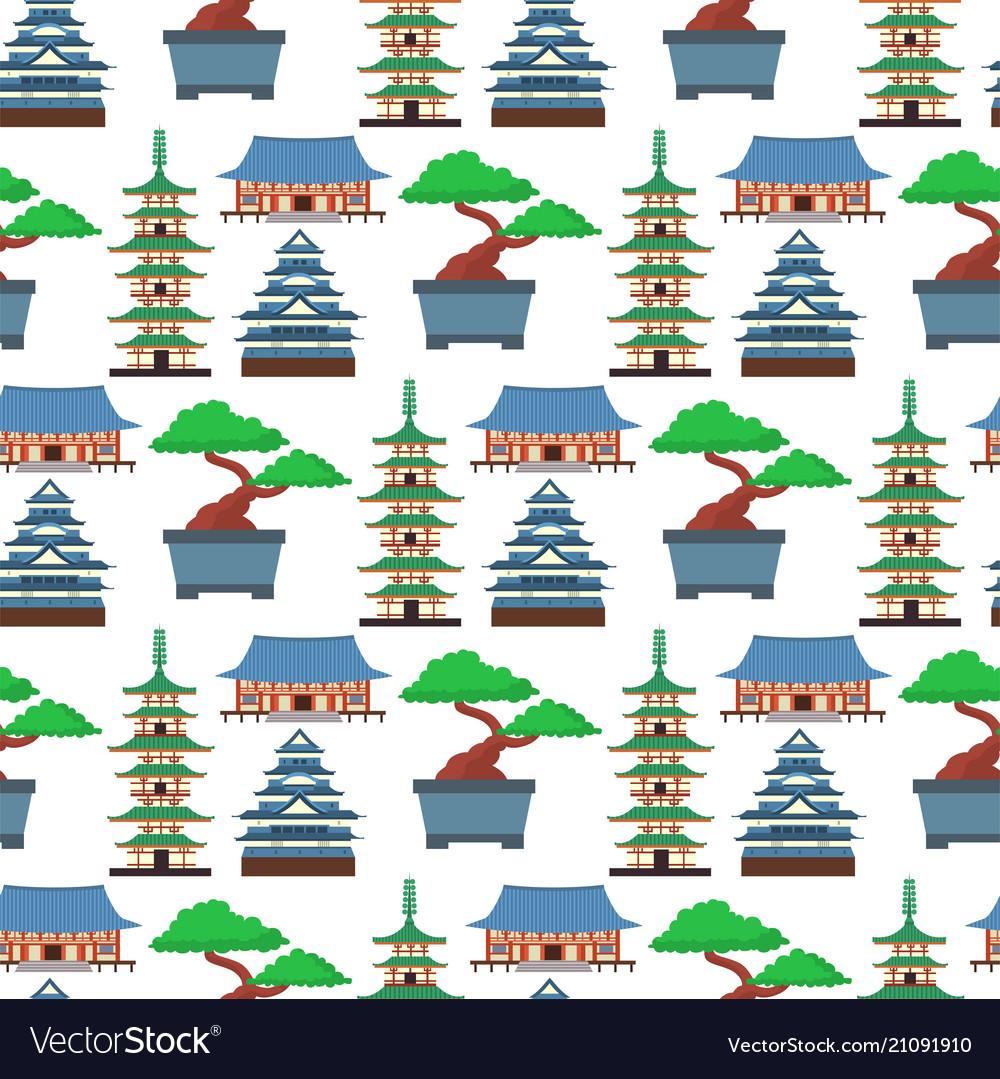 Flat Colored Symbols Of Japan Travel Royalty Free Vector
