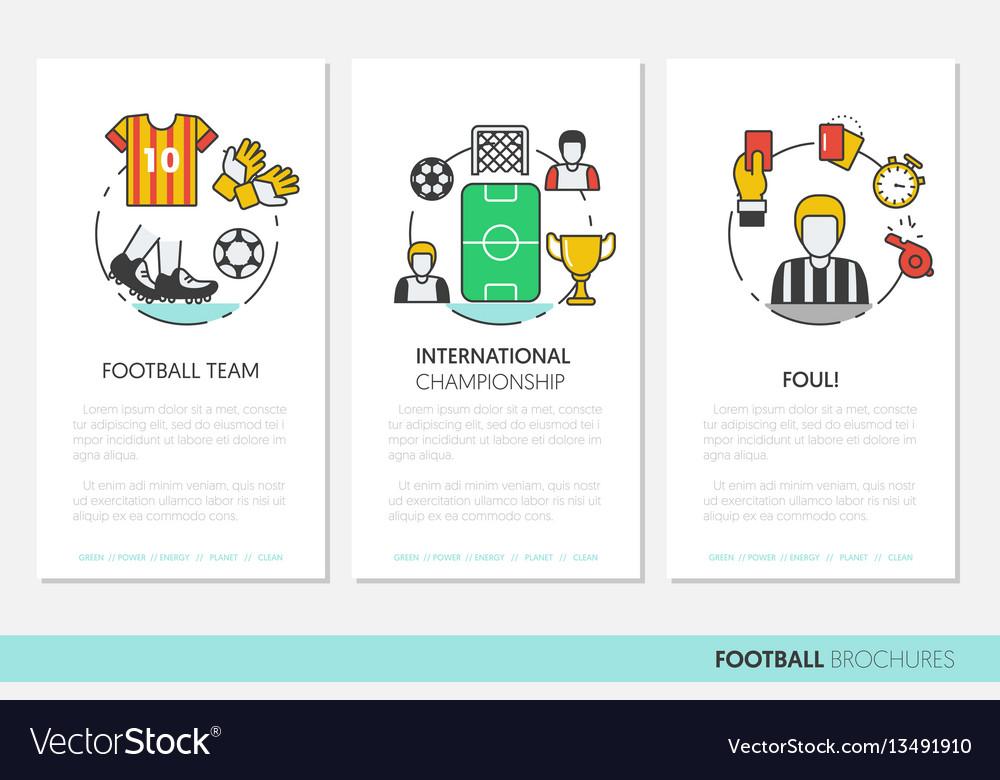 Football soccer business brochure linear vector image