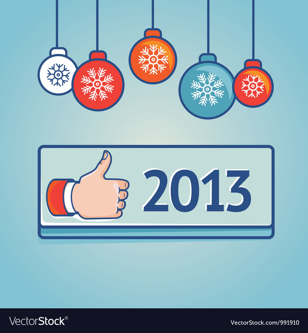 New year greeting card with like sign