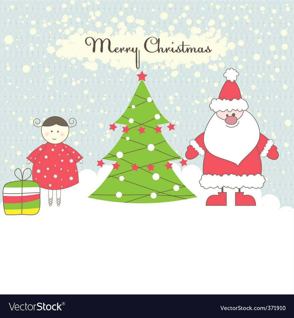 Santa and girl vector illustration