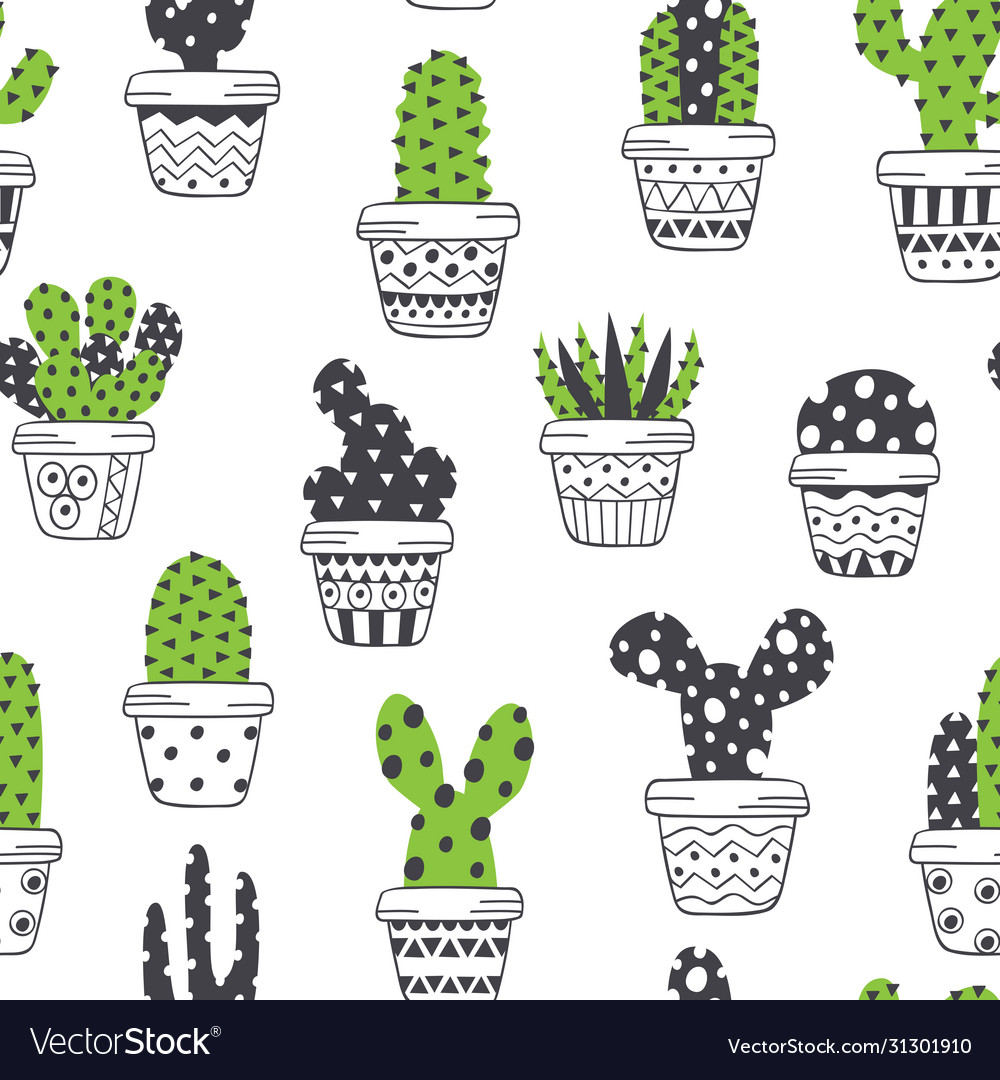 Seamless pattern with scandinavian cactus in pots