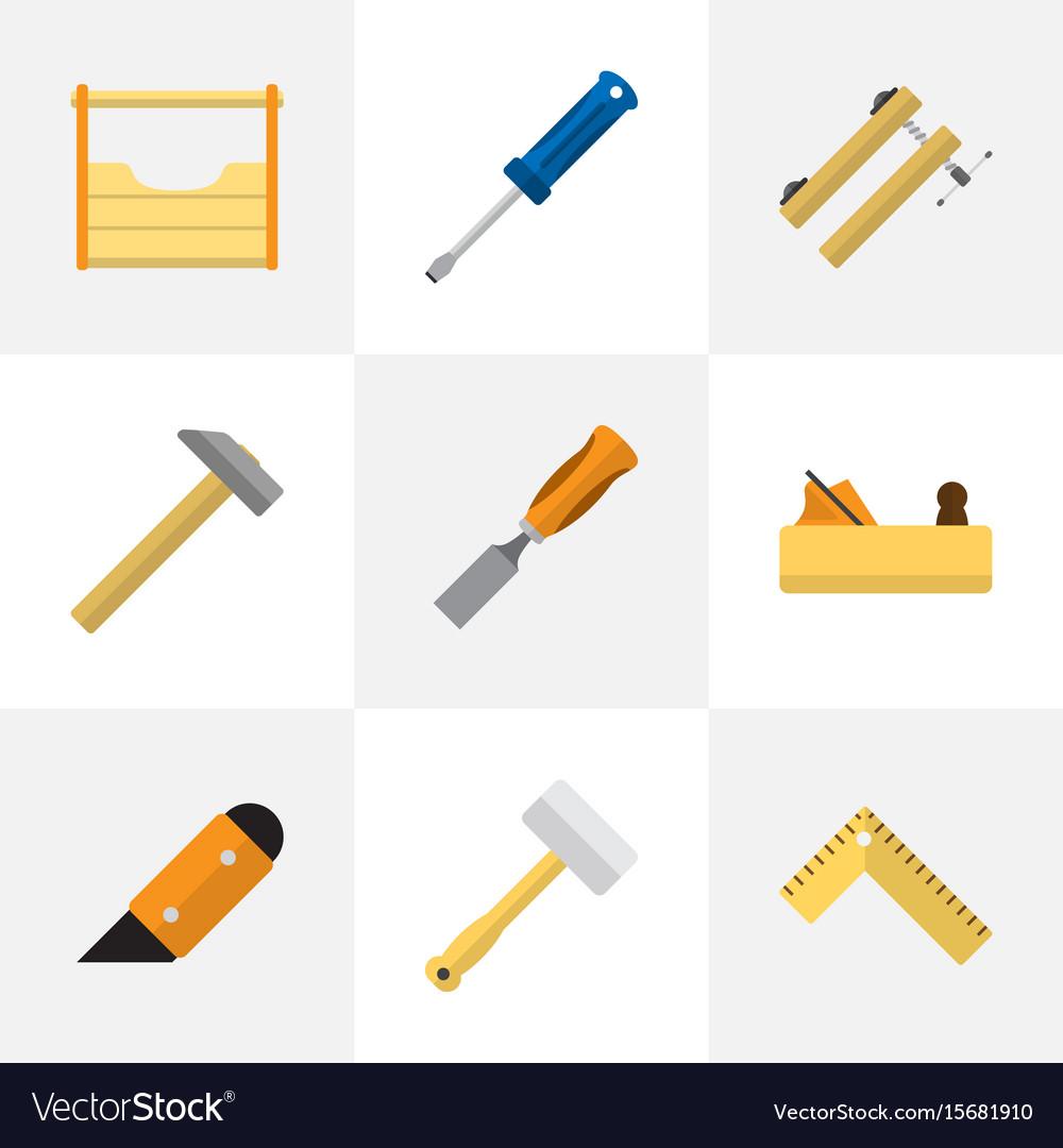 Set of 9 editable tools icons includes symbols