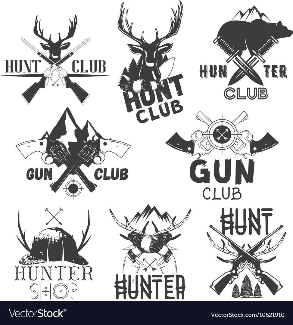 Set of hunt club labels Monochrome badges