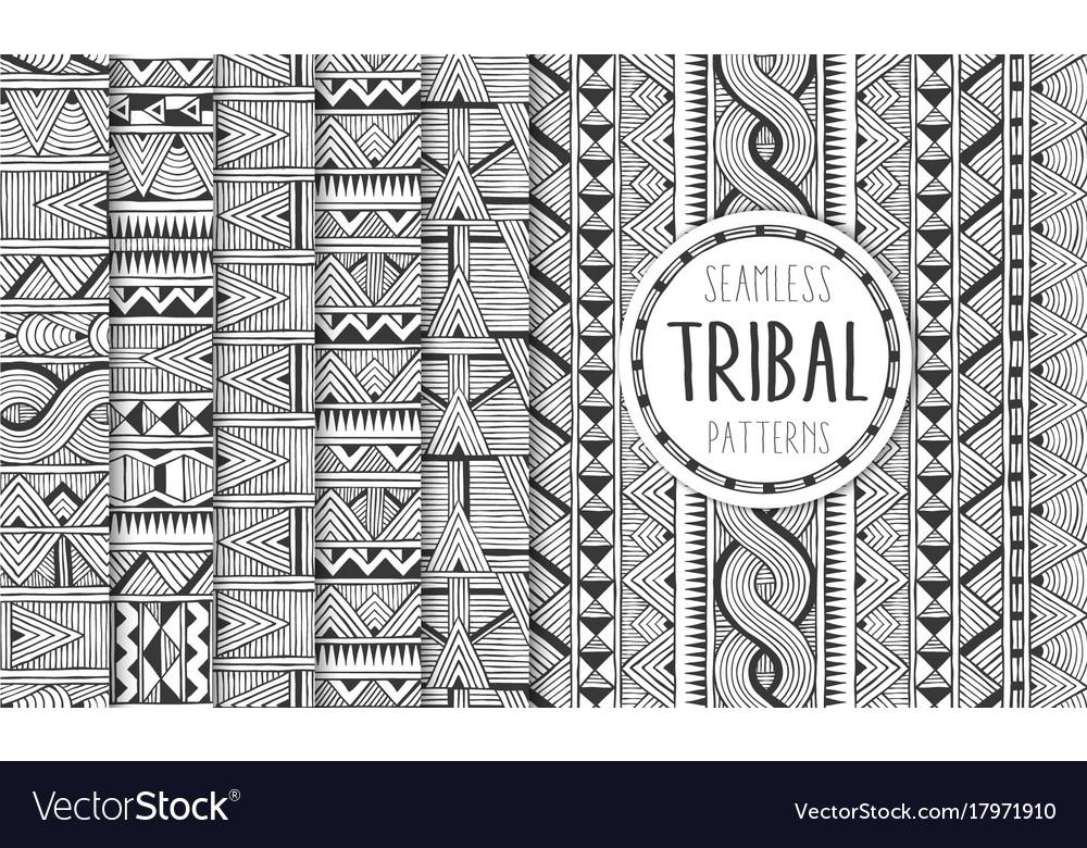 Set of six ethnic seamless patterns tribal