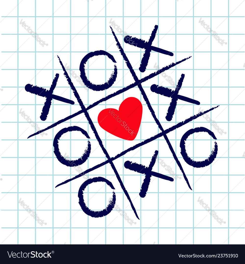 Tic tac toe game with criss cross and red heart