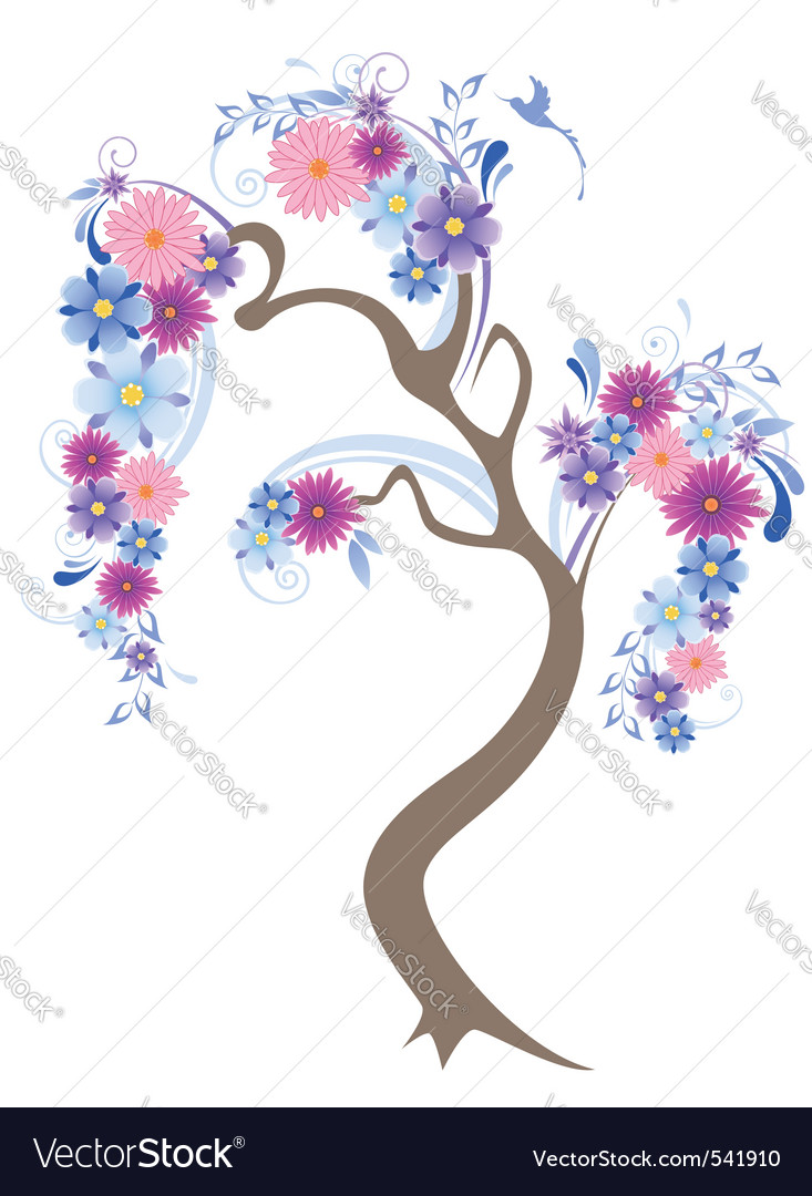 Vector flowering tree with blue flowers and bird vector image izmirmasajfo