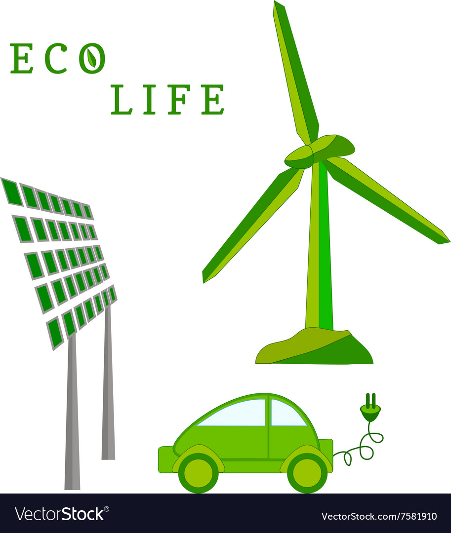 Windmill solar battery electric car - eco life vector image