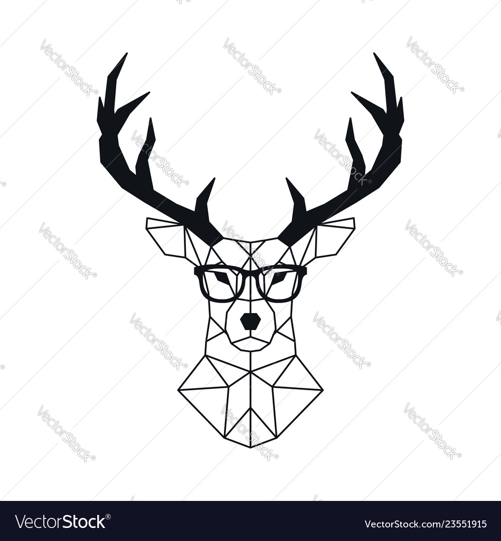 Abstract geometric deer head in polygonal style