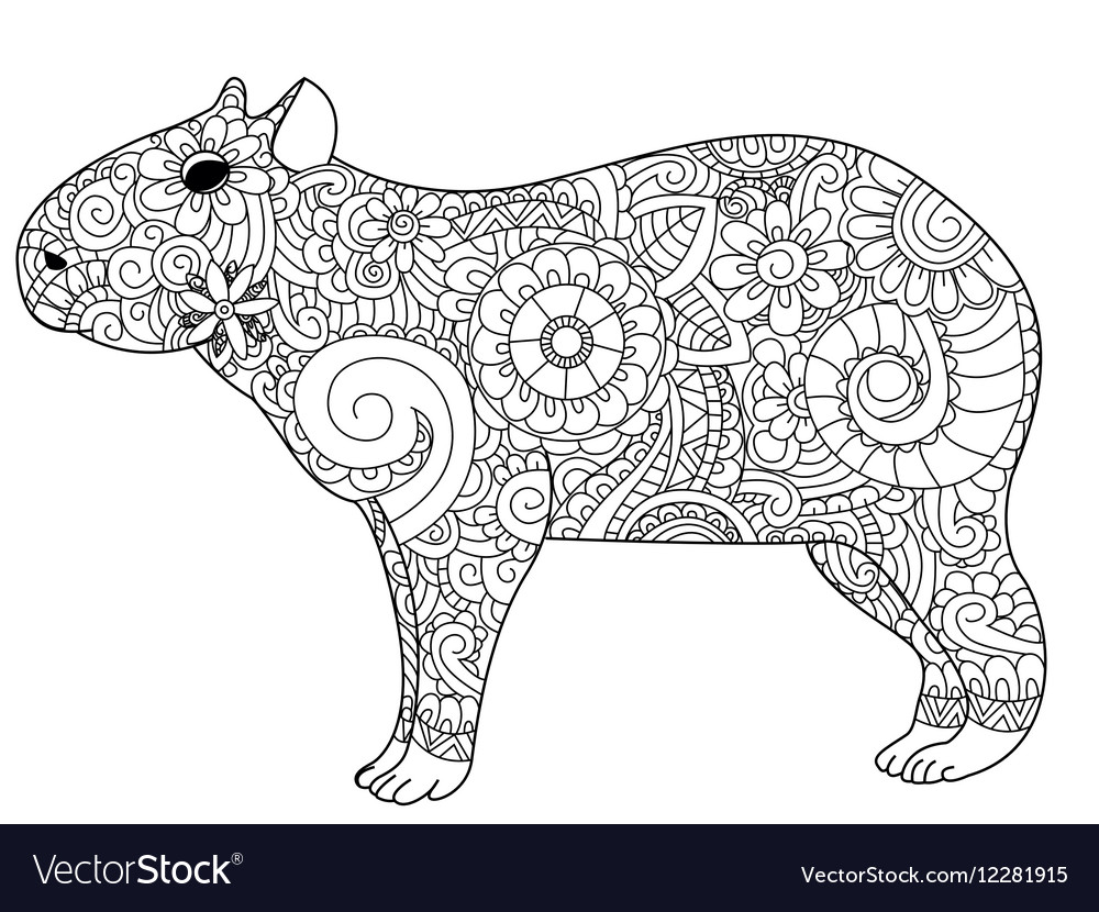 Capybara coloring for adults Royalty Free Vector Image