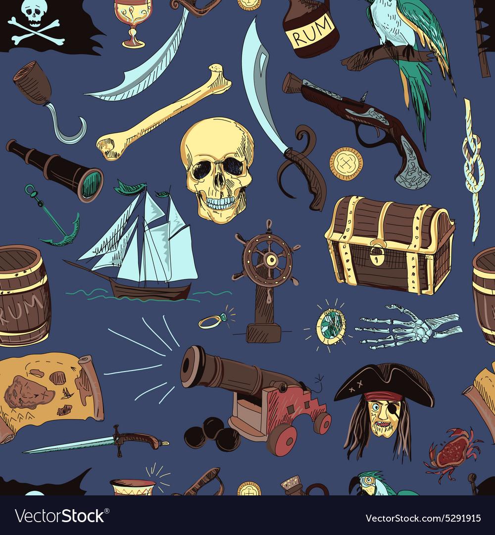 Colored Pirates pattern Hand drawn