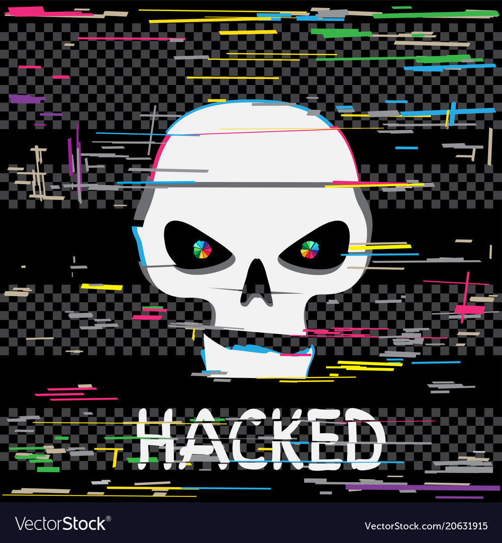 Glitch hacker skull with text vector image