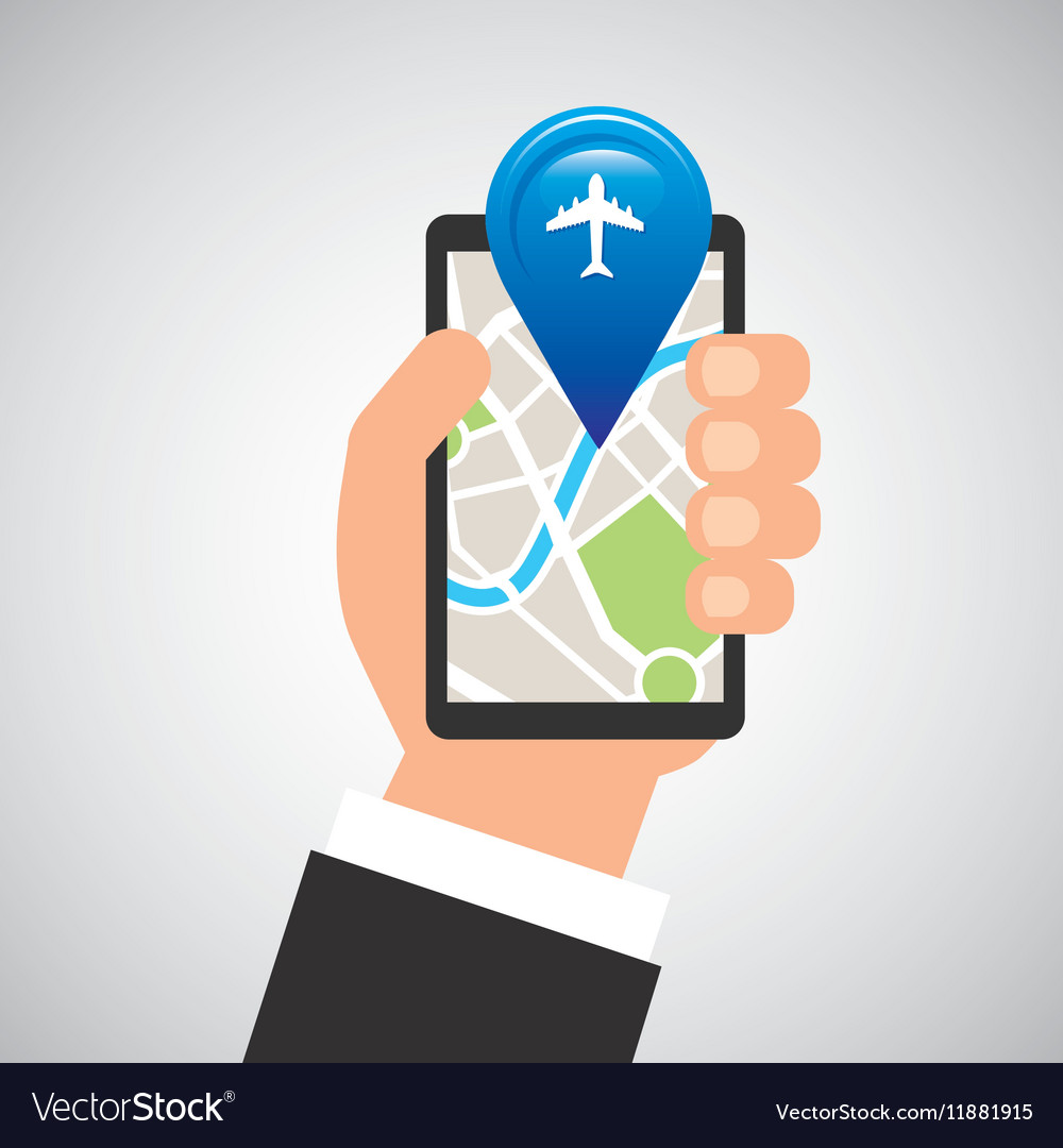 Hand holds phone navigation app airport vector image