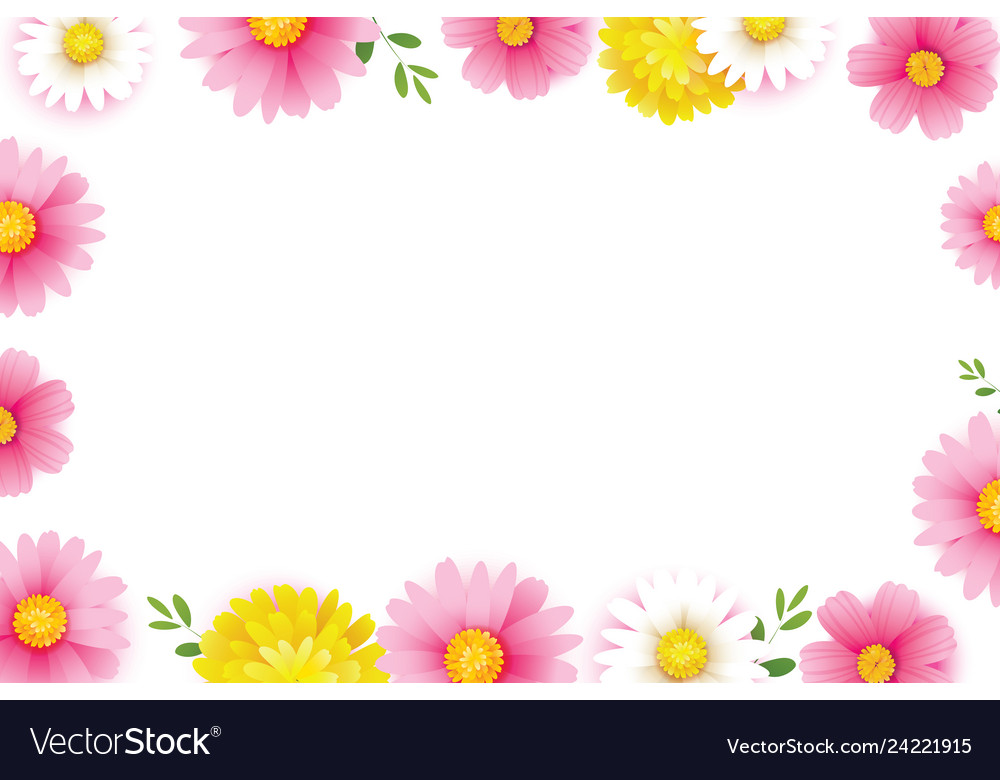 Hello spring season frame with blooming flowers