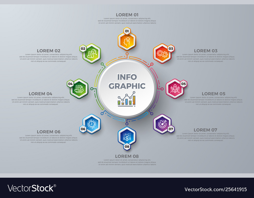 Infographic design element with 8 process choices